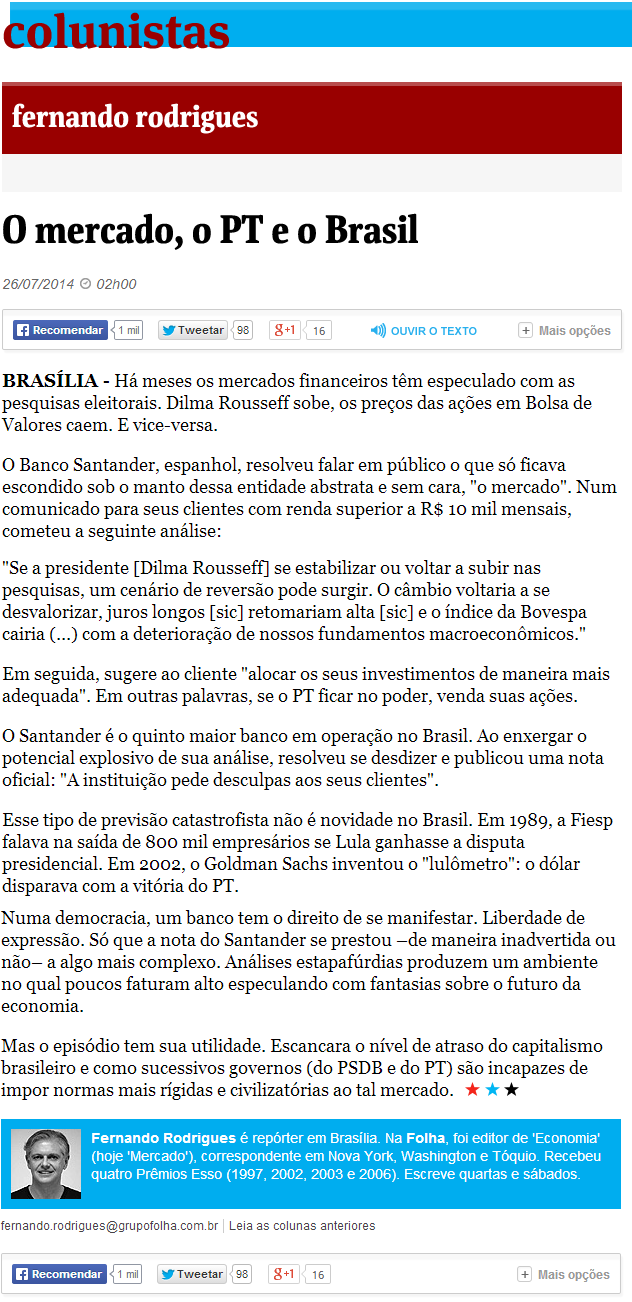 o PT e o mercado no Brasil