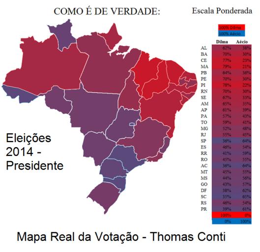 mapa real das eleições 2014 Thoms Conti