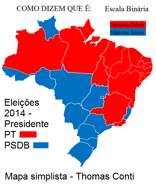 mapa simplista das eleiçoes 2014 Thomas Conti