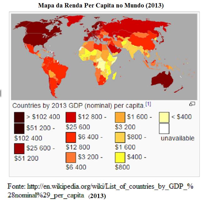 mapa da renda percapita no munod 2013